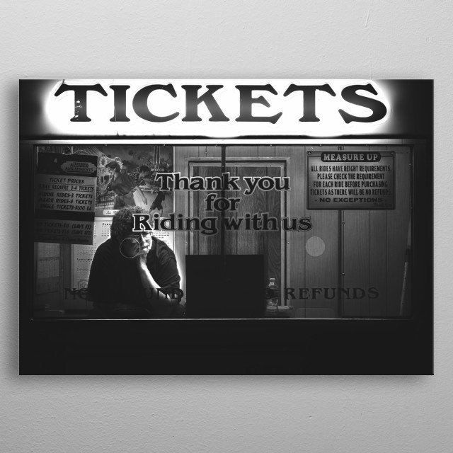 Tickets.  Nighttime at the traveling carnival and bored woman waits for someone to buy a ticket. Street photography by Bob Orsillo metal poster