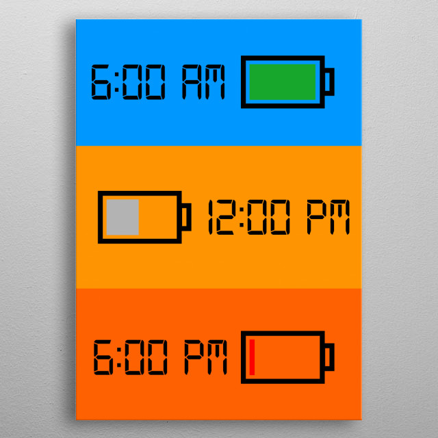 Could be understand directly on how tiring school is. Illustration showing how your energy is depleting as time passes by at school. metal poster