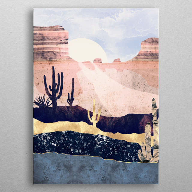 Abstract depiction an autumn desert with gold, blue, mauve and pink metal poster
