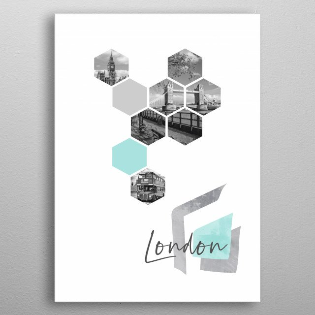 Monochrome cityscapes from London in geometric shapes showcase perfectly each single moment. Discover Big Ben, Tower Bridge and an old  bus. metal poster