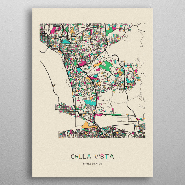 Colorful street map of Chula Vista, California. The map is randomly painted with modern and pop colors to give abstract look to the design. metal poster