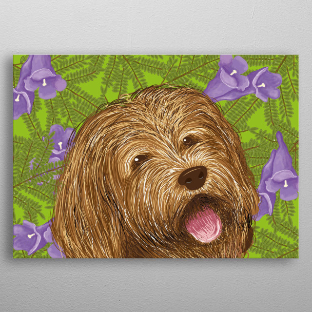 Illustration of the the dog, inspired by my love for animals. A Labradoodle is a created by crossing the Labrador retriever and poodle. metal poster