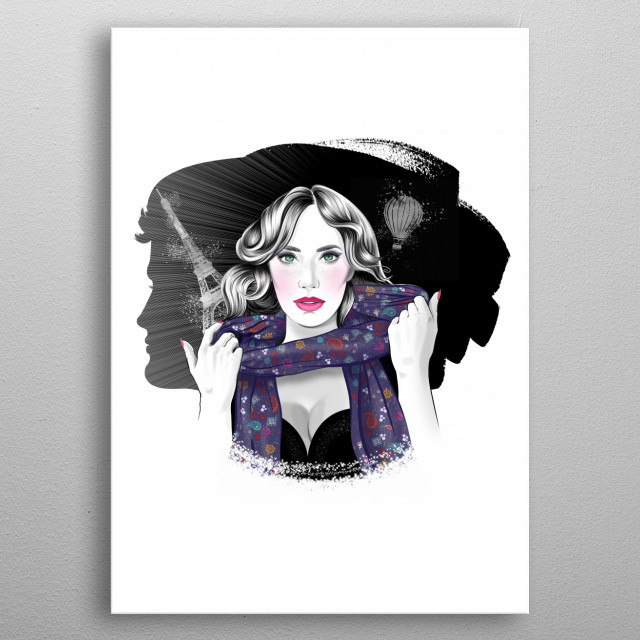 Romantic fashion portrait of young lady, travelling to Paris, with beautiful man silhouette, double exposure effect metal poster