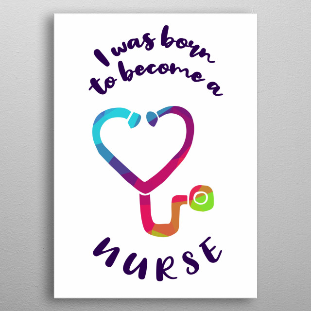Beautiful, Cute and Colorful Rainbow Nurses Medical With Text Or Quotes. Nice Gift for Mom, Dad, Kids, Sister, Brother, Uncle, and Aunt. metal poster