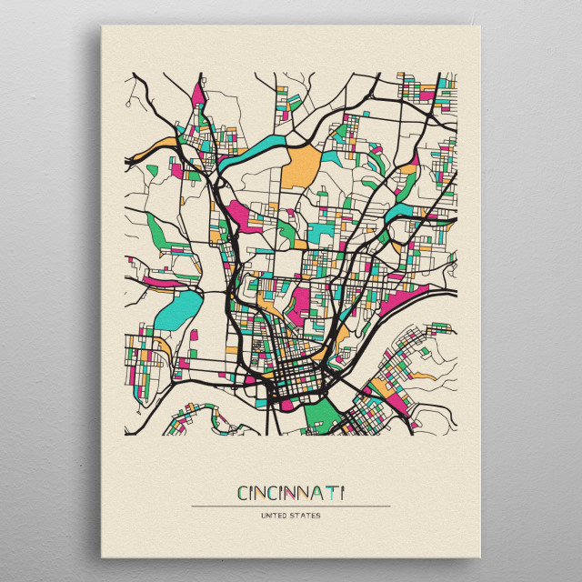 Colorful street map of Cincinnati, Ohio. The map is randomly painted with modern and pop colors to give abstract look to the design. metal poster