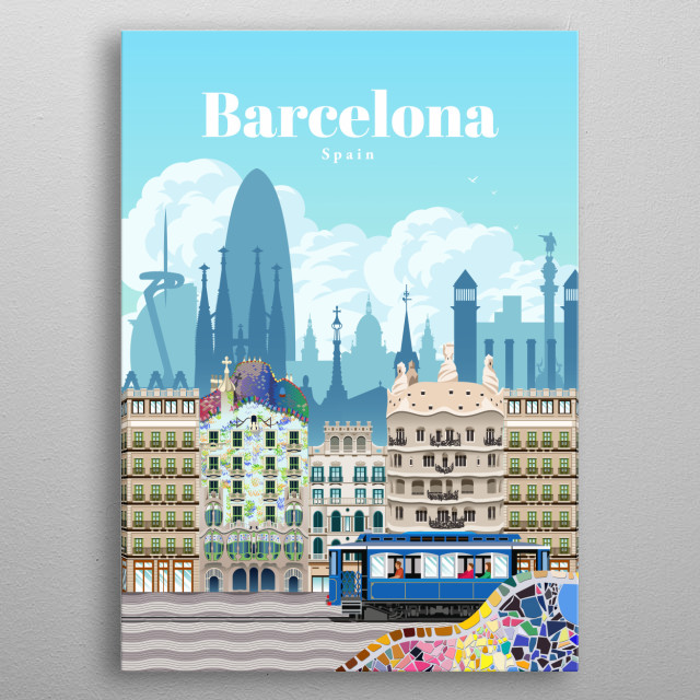 Illustration of Barcelona's city skyline and architecture of the famous Casa Batlo and Casa Mila, with the vintage city tram Tramvia Blau. metal poster