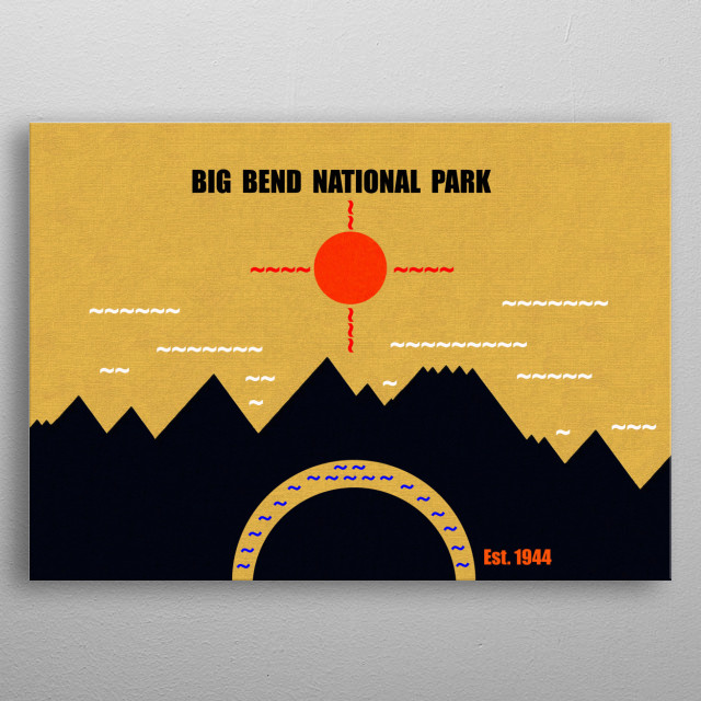 Minimalistic artwork of Big Bend National Park Texas. Work shows the great bend in the Rio Grande River and surrounding mountains. metal poster