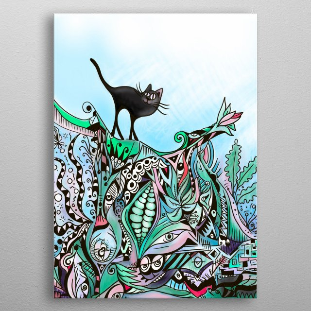 Dancing the black cat across the hot tiles of a mixed up roof of black intrigue of peas and life. Theres lots to look at metal poster