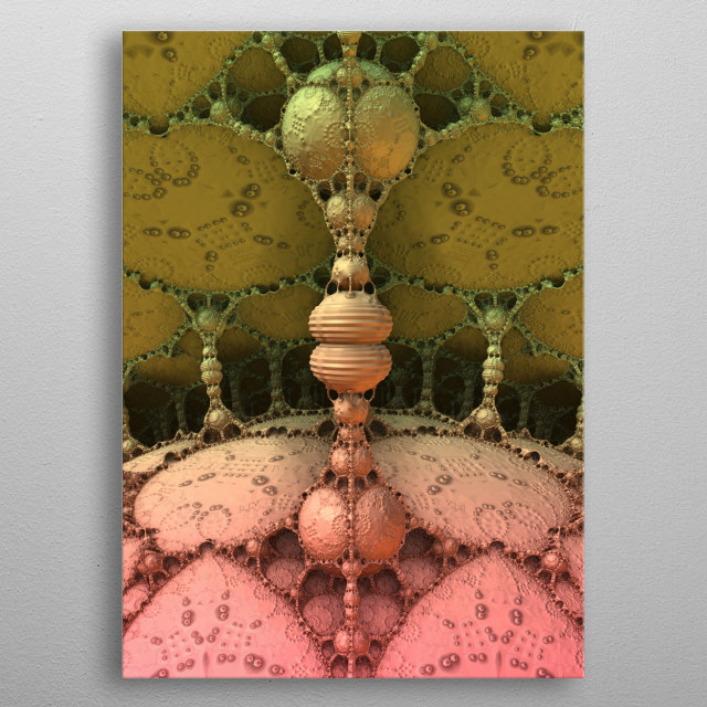 A three-dimensional fractal rendering that reminds me of a cave scene which begs the question - stalagmite or stalactite? metal poster
