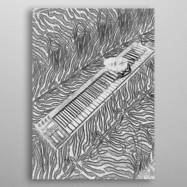 Picture taken of the keyboard for music production, and made it as an illustration.  metal poster