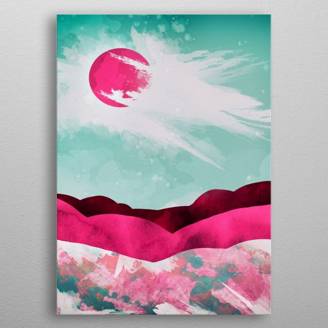 Abstract depiction of a spring day with pink, teal and white metal poster