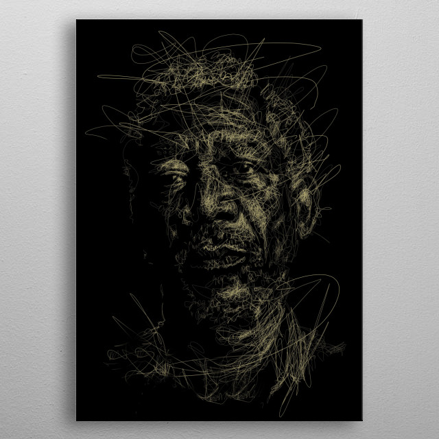 illustration of Morgan Freeman inspired by the great film director metal poster