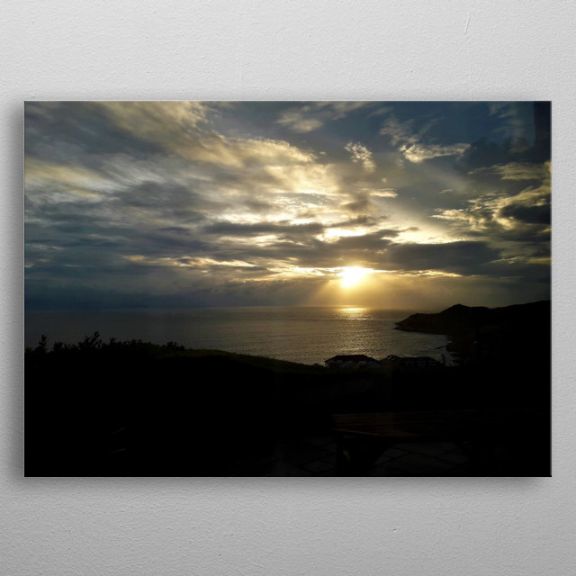 Photograph of the sunset over the sea metal poster