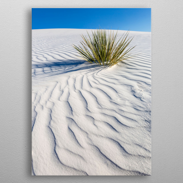 Like a sea of sand, the White Sands National Monument rises from the Tularosa Basin in the middle of New Mexico's desert. Minimalist photo. metal poster