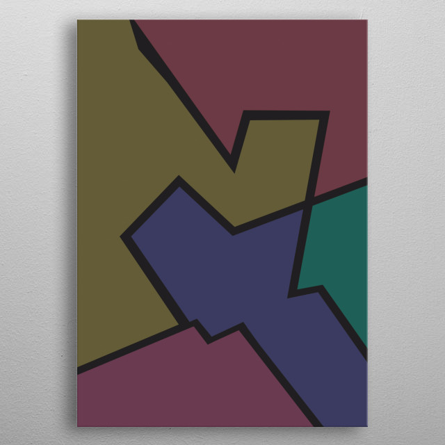 Abstract colorful illustration. Minimalistic art metal poster