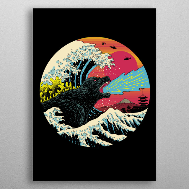 The ultimate kaiju in 80's retro wave aesthetics. metal poster