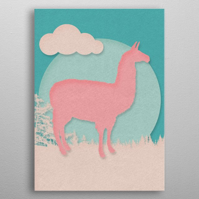 Soft pastel colored animals on paper cut out style digital artwork. metal poster