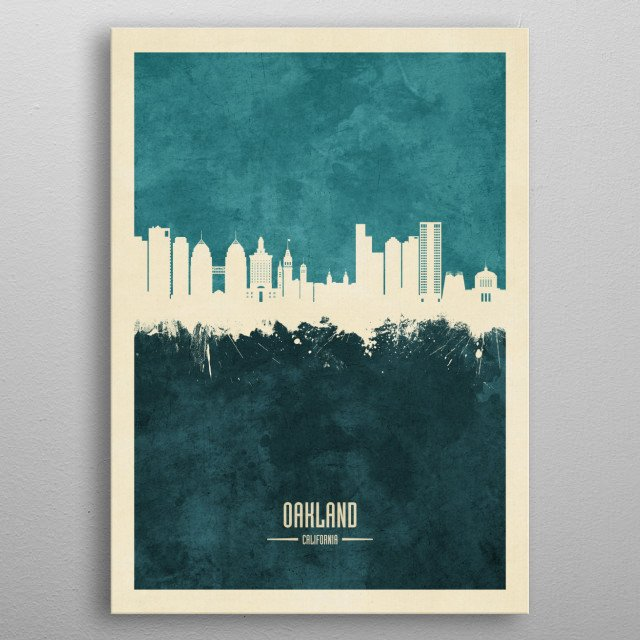 Watercolor art print of the skyline of Oakland, California, United States metal poster