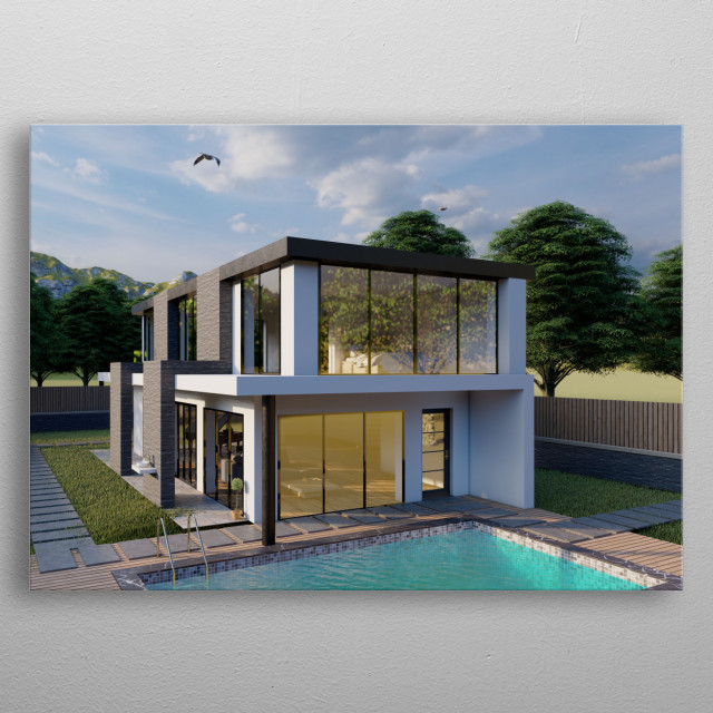 This is a high quality rendered Villa Based in Cyprus. metal poster