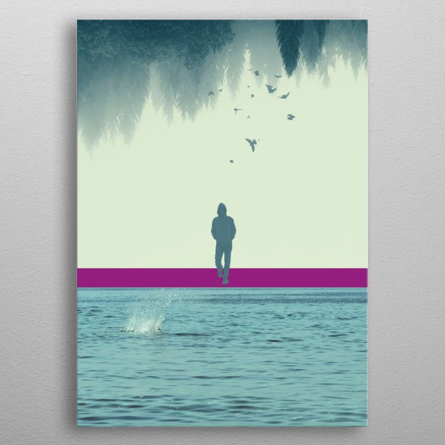 Collage of an upside-down forest a man and a seascape. metal poster