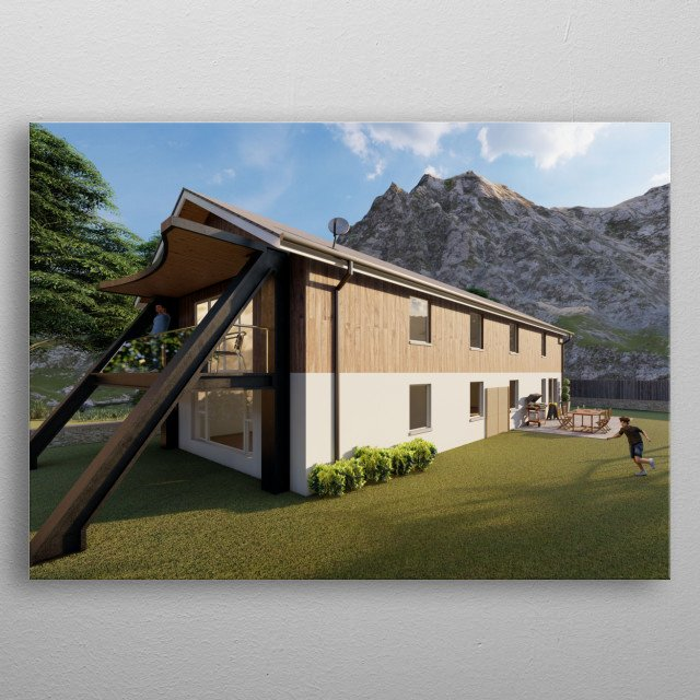 This is a design of a modern hilltop home based in cornwall Rendered in the highest quality my software allows! metal poster