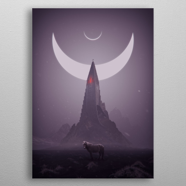 The picture shows a surreal scene as if from a dream. As part of a series of dreams. metal poster