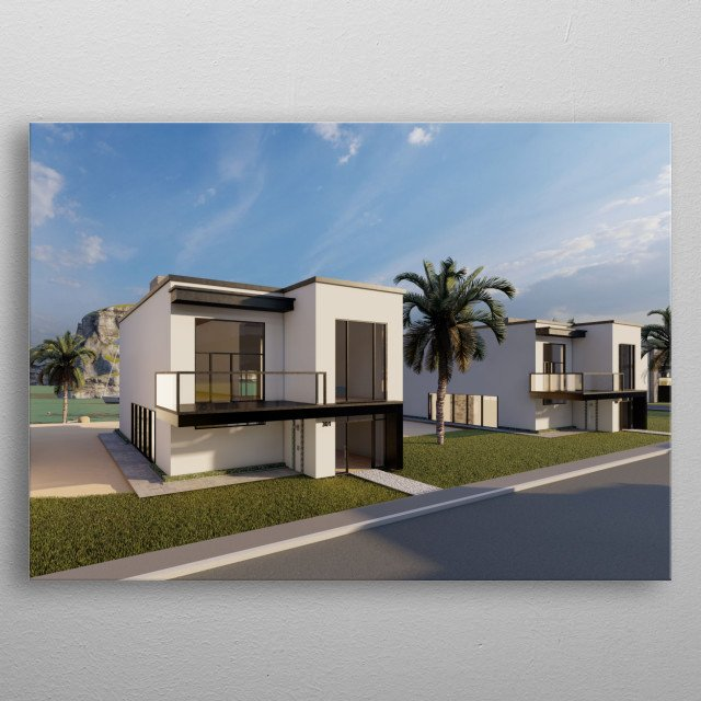 This is a modern beach house designed by Josh Shaw and rendered in high quality metal poster