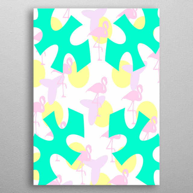 A vibrant colorful pattern of pink flamingos, yellow polka dots and cute leaves. metal poster