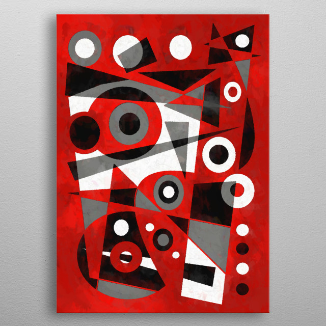 Abstract geometric cubist-inspired design. The Bassoon Player metal poster