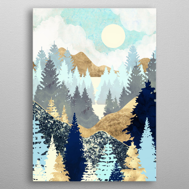 Abstract landscape of a summer forest with gold, blue, yellow and mint metal poster