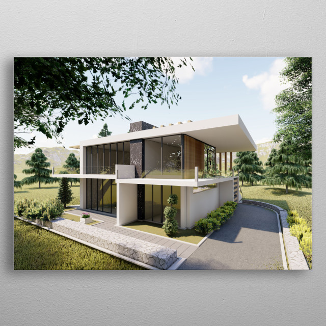 Modern country side Villa based in the Unite states. metal poster