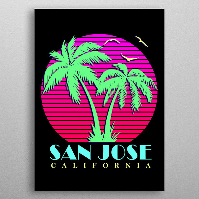 This design features a 1980s looking pink sun, beach palm trees and sea birds. metal poster