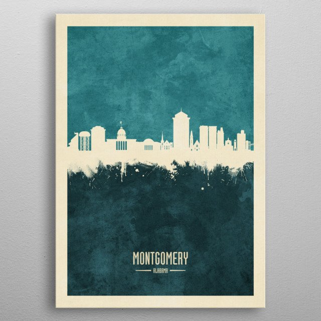 Watercolor art print of the skyline of Montgomery, Alabama, United States metal poster