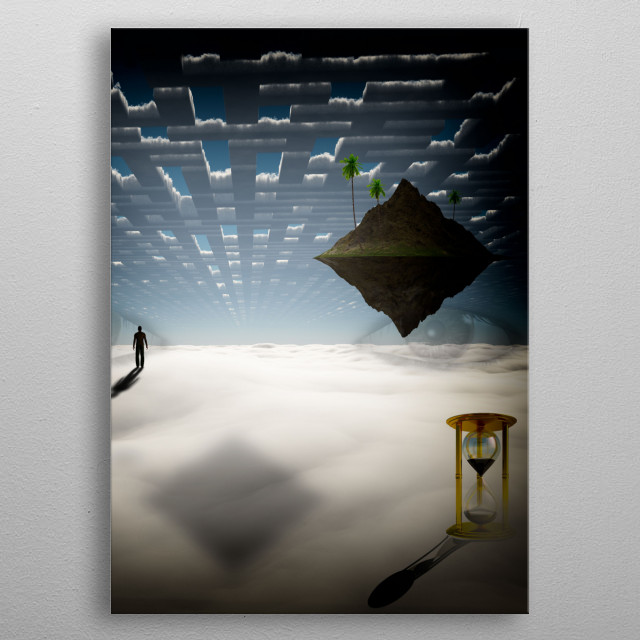 Man on the way to floating island metal poster