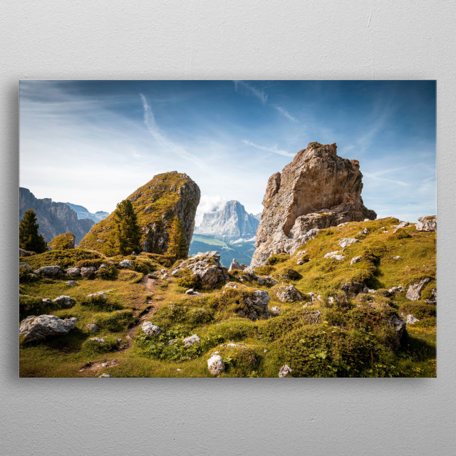 Mountains of South Tyrol at summer.  metal poster