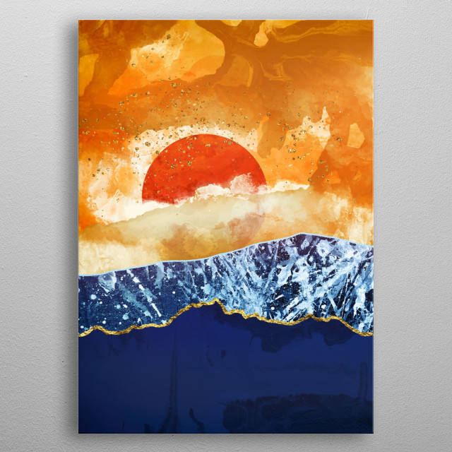 Abstract landscape at dusk with amber, cobalt and gold metal poster