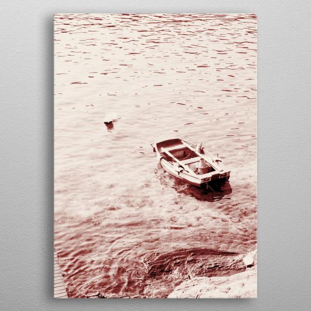 Monochrome Beach Days Boat metal poster