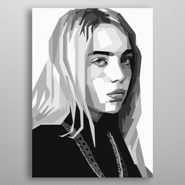 An geometric illustration of Billie Eilish. metal poster