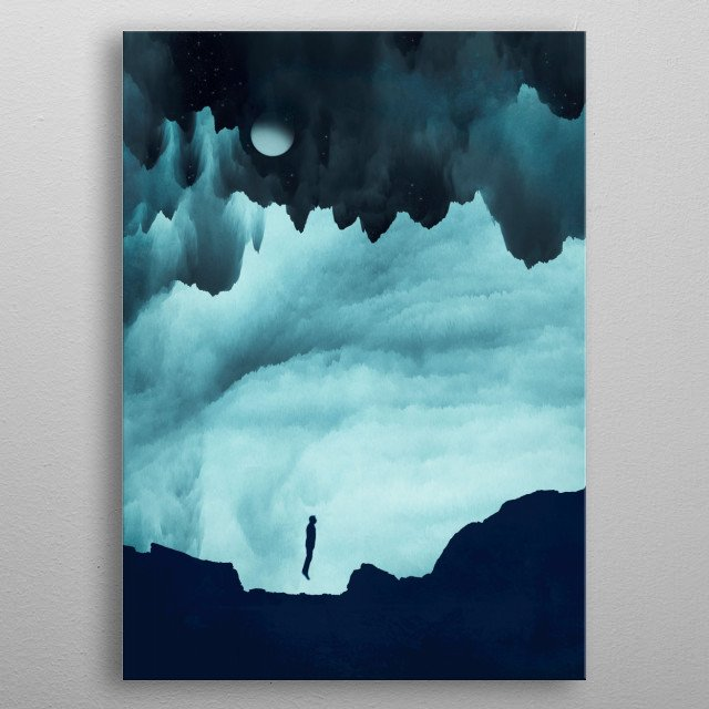 surreal landscape with a man jumping metal poster