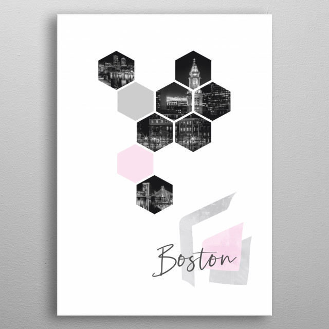 Popular monochrome cityscapes from Boston in geometric shapes showcase perfectly each single moment with a touch of minimalism. metal poster