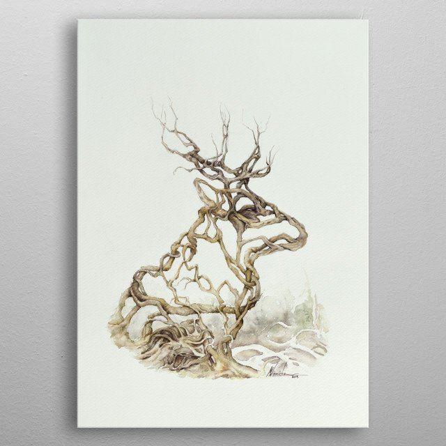 A watercolor painting of branches forming the shape of a moose's head.  metal poster