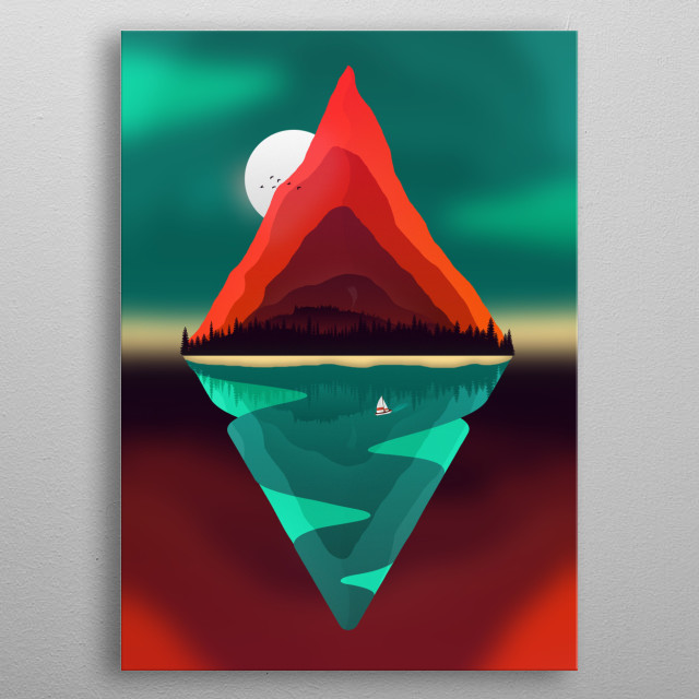 Take a fresh air in this minimalist and colorful artwork about nature life in a typical day outside. metal poster