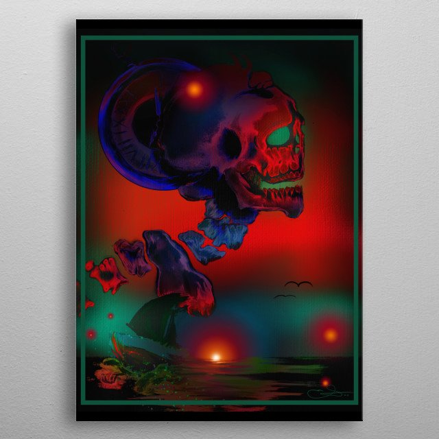 Oceanside view of a colossal skeleton with an imbedded timepiece in the back. Boat sailing upon the foggy waters   metal poster