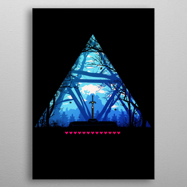 illustration of the master sword in the wild metal poster