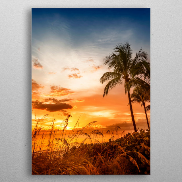 Bonita Beach is located south of Fort Myers and offers many beautiful natural beach areas. Fantastic impression with a gorgeous sunset. metal poster