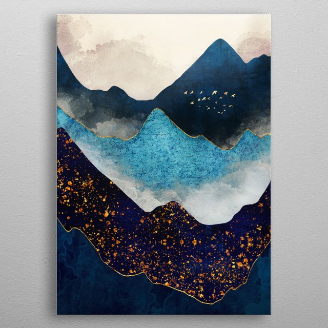 Abstract landscape with indigo peaks, gold birds and blue metal poster