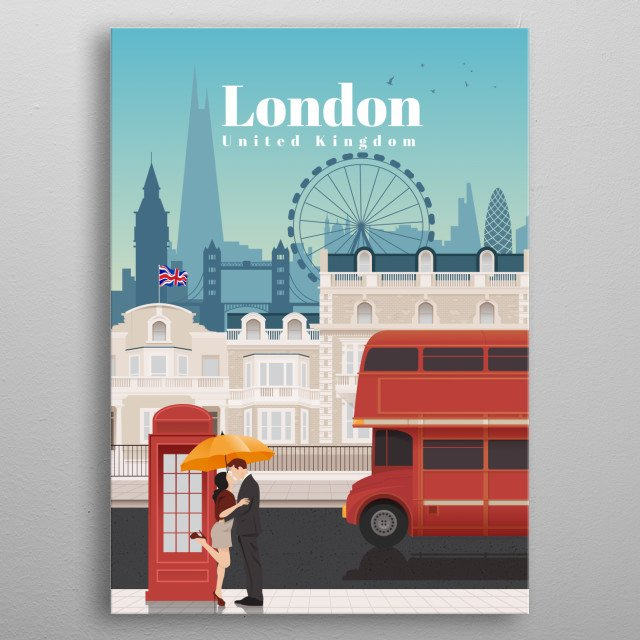 Digital art of London's city skyline and architecture of its neighbourhoods, and their favourite transit - the red double decker bus. metal poster