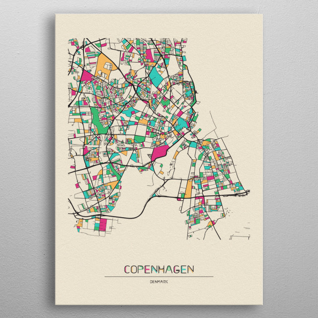 Colorful street map of Copenhagen, Denmark. The map is randomly painted with modern and pop colors to give abstract look to the design. metal poster