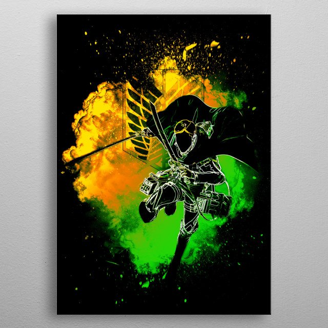 Black silhouette of the commander metal poster