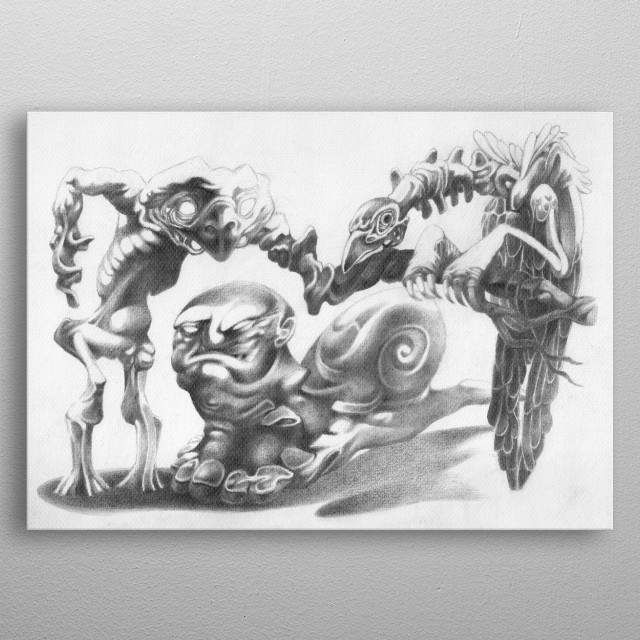This is a surreal artwork, caricature style, made in pencil on paper. The design is original.  metal poster